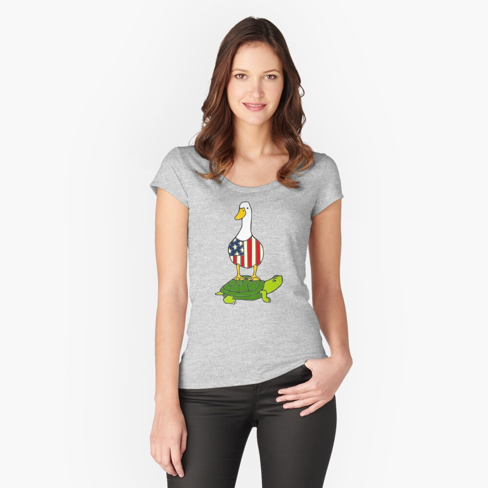 Turtle and Duck Women's Fitted Scoop T-Shirt Front