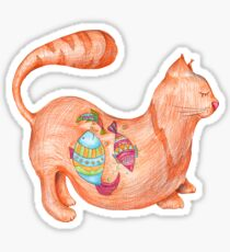 sleeping cat with fishes Sticker