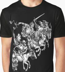 Apocalypse, Durer, Four Horsemen of the Apocalypse, Revenge, Biblical, Prophesy, White on Black Graphic T-Shirt
