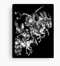 Apocalypse, Durer, Four Horsemen of the Apocalypse, Revenge, Biblical, Prophesy, White on Black Canvas Print