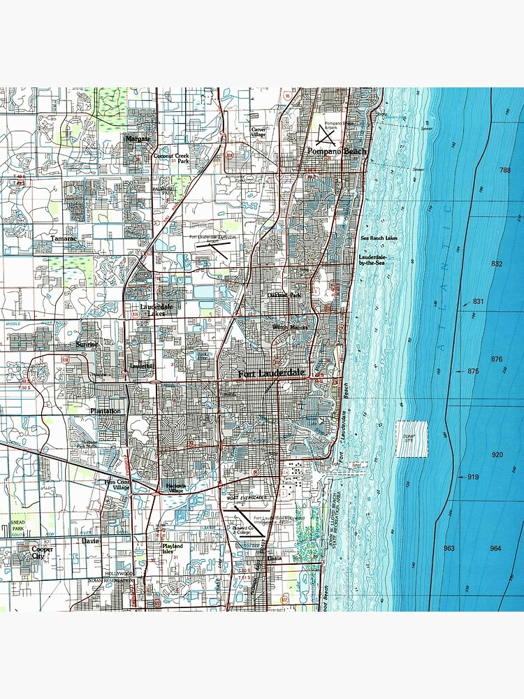 Fort Lauderdale Florida Map (1985)  by BravuraMedia