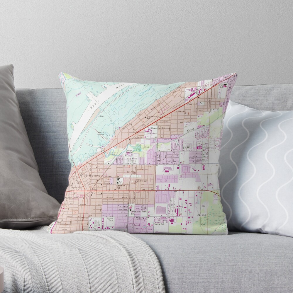 Vintage Map of Fort Myers Florida (1958) Throw Pillow