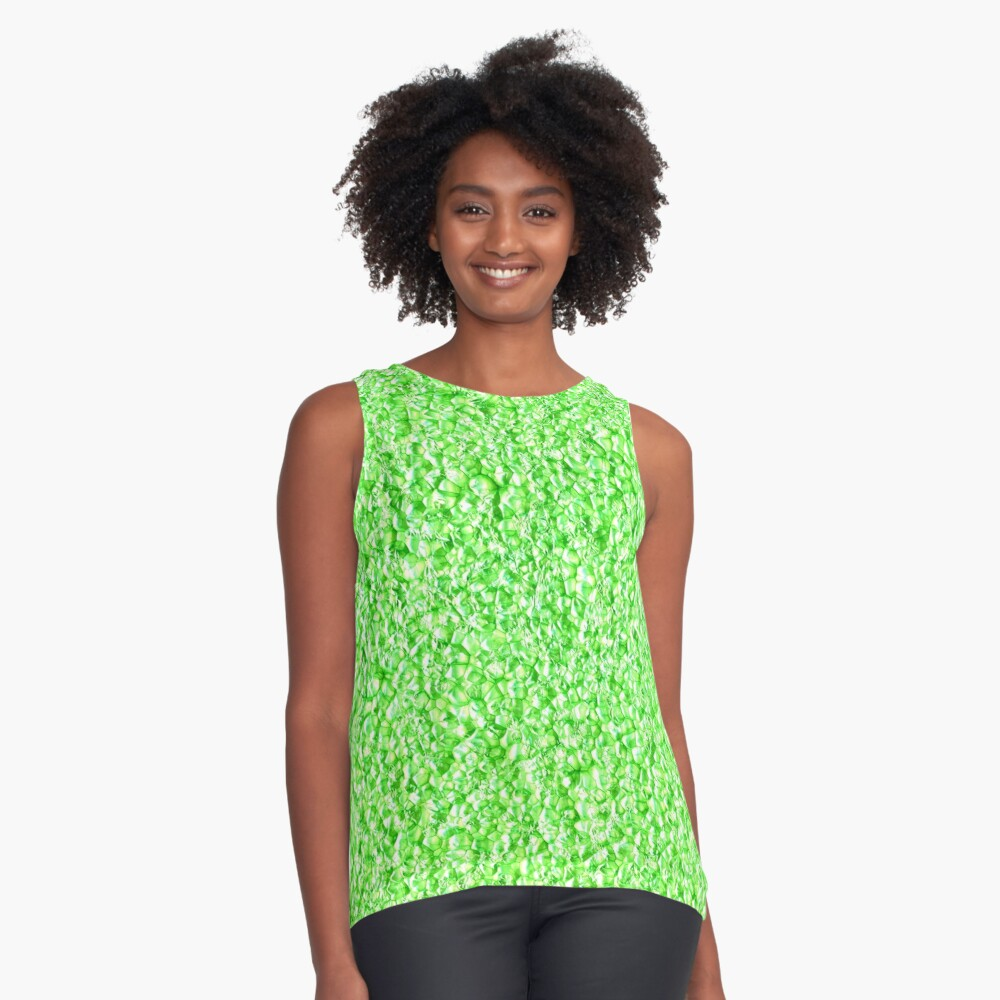 Green texture Contrast Tank Front