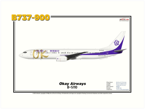 Boeing B737-900 - Okay Airways (Art Print) by TheArtofFlying