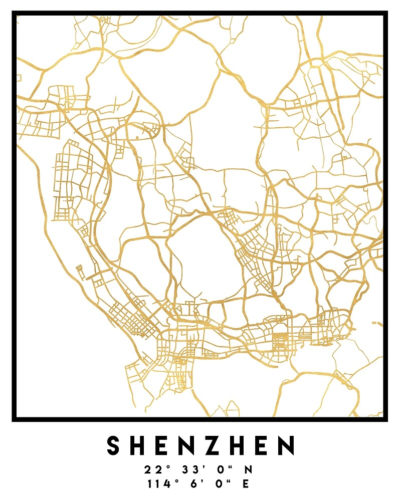 SHENZHEN CHINA CITY STREET MAP ART by deificusArt