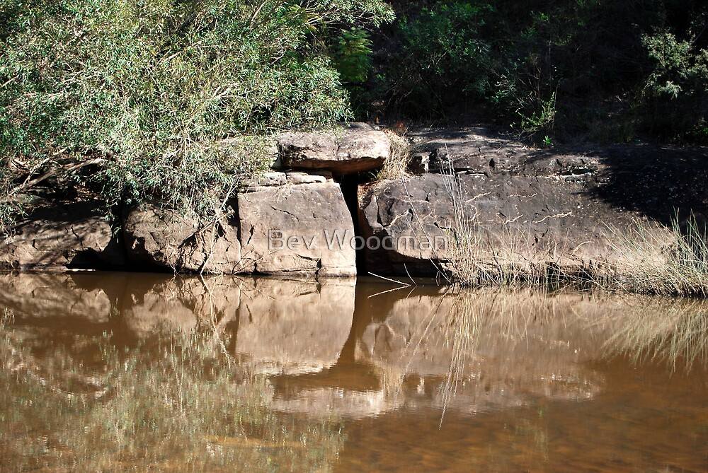 Sandstone Reflections on the Macdonald River NSW by Bev Woodman