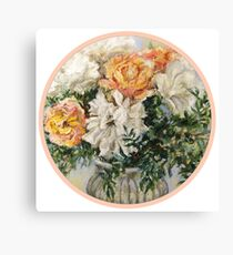 Peonies and roses Canvas Print