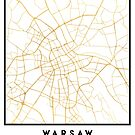 WARSAW POLAND CITY STREET MAP ART by deificusArt