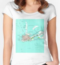 Vintage Map of Key West Florida (1962) Women's Fitted Scoop T-Shirt