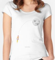Bitcoin BTC Rocket Spaceship CryptoCurrency  Women's Fitted Scoop T-Shirt