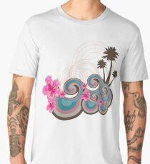 Tropical Waves & Fuchsia Pink Hibiscus Men's Premium T-Shirt