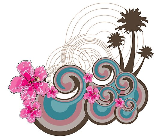 Tropical Waves & Fuchsia Pink Hibiscus by fatfatin