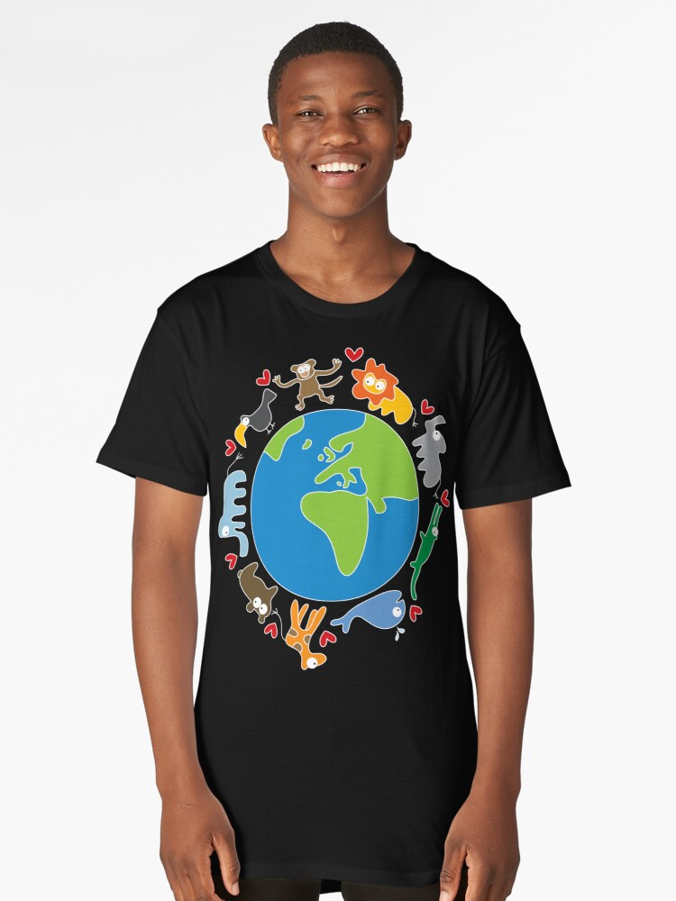 We Love Our Planet | Animals Around The World II Long T-Shirt Front