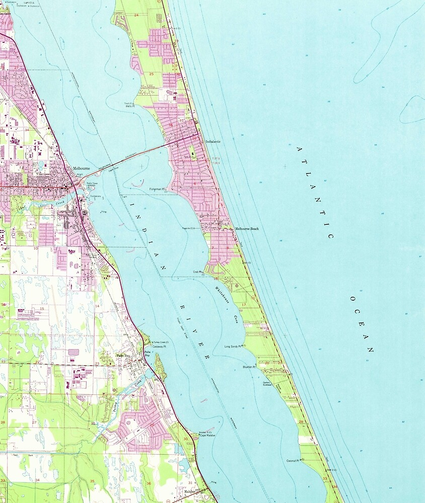 Vintage Map Of Melbourne Florida 1949 By Bravuramedia Redbubble