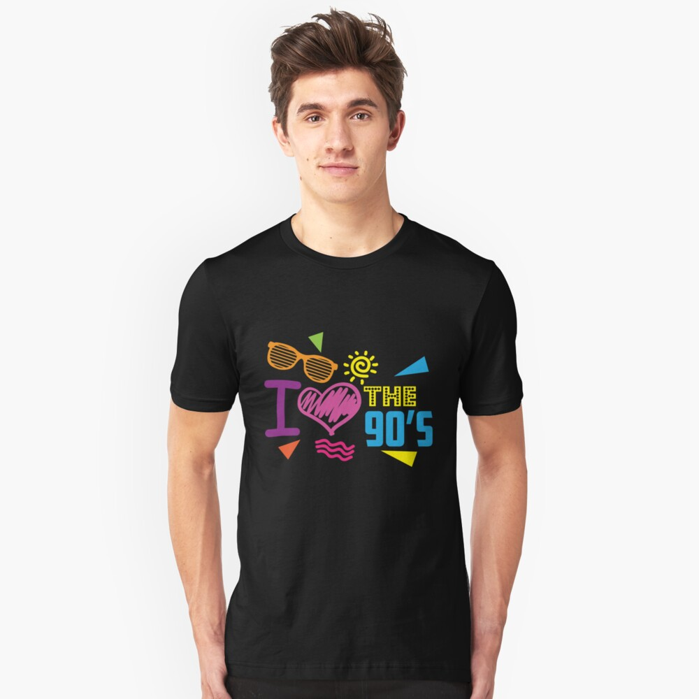 I love the 90's Retro Vintage Throwback Neon Bright Colors Unisex T-Shirt Front