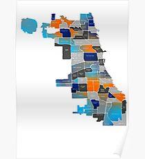 Chicago Map - Blue & Orange Poster