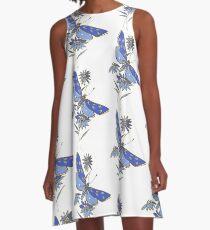 Flower Garden Blue A-Line Dress