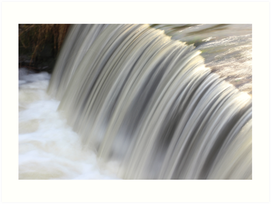 Fast flowing waterfall, Bradgate Park Leicestershire by camsavinfocus