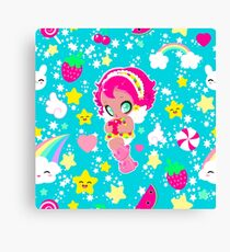Cute funny girl with a heart pattern Canvas Print