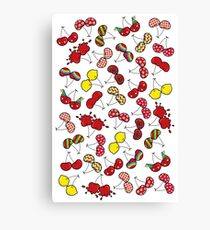 Oh, I'm Mad About Cheeky Cherries Pattern Canvas Print