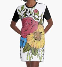SUNFLOWER & ROSE Graphic T-Shirt Dress