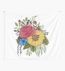 SUNFLOWER & ROSE Wall Tapestry