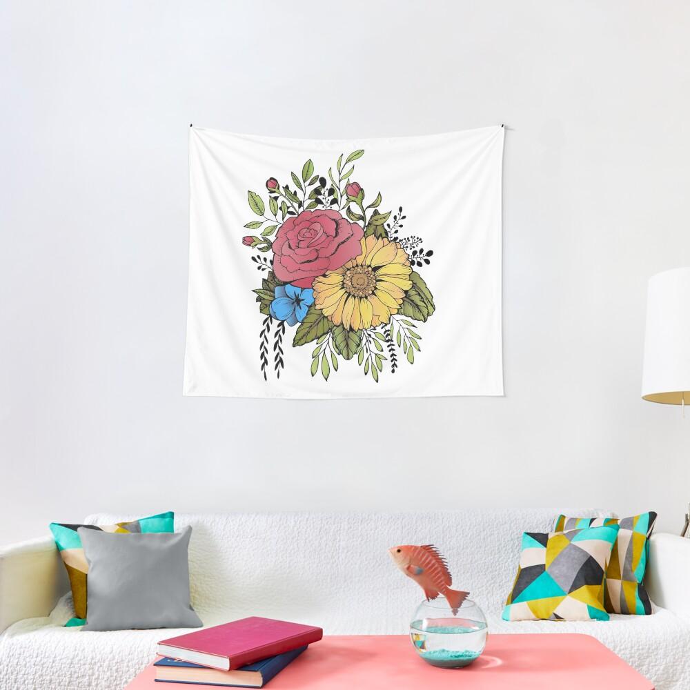 SUNFLOWER & ROSE Tapestry