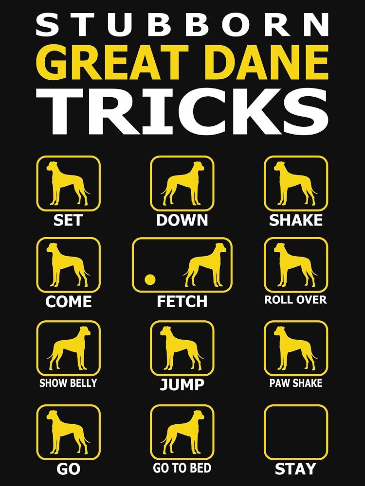 Stubborn Great Dane Dog Tricks Funny Tshirt by simbamerch