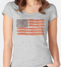 Bacon Flag Bacon Clothes Women's Fitted Scoop T-Shirt