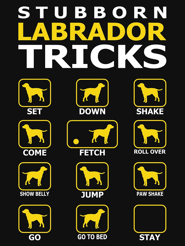 Stubborn Labrador Dog Tricks Funny Tshirt by simbamerch