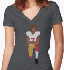 Kneeling Kaepernick Women's Fitted V-Neck T-Shirt