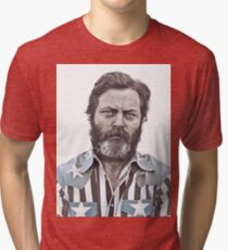 Ron Swanson (Nick Offerman) - An American Hero Tri-blend T-Shirt