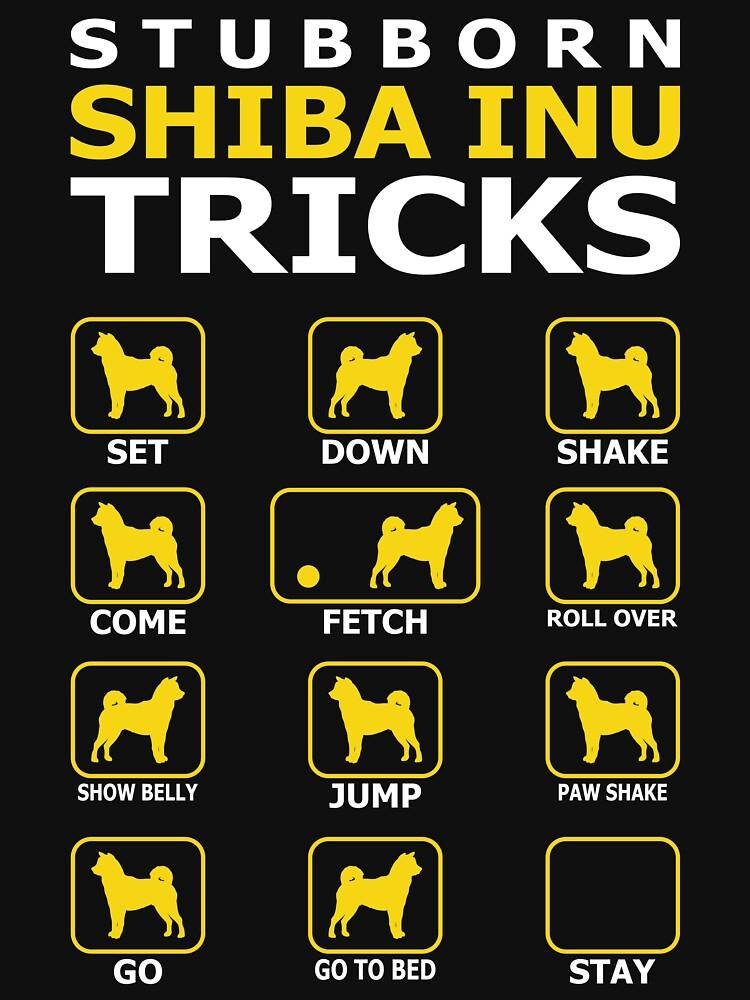 Stubborn Shiba Inu Dog Tricks Funny Tshirt by simbamerch