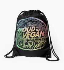 Proud to be Vegan - Rainbow Drawstring Bag
