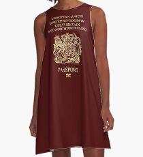 Vestido acampanado United Kingdom Passport Vintage