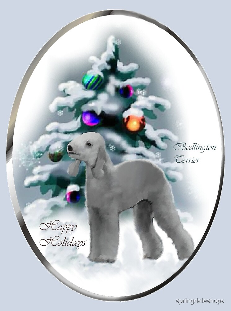 Bedlington Terrier Christmas Holiday Art Gifts by springdaleshops
