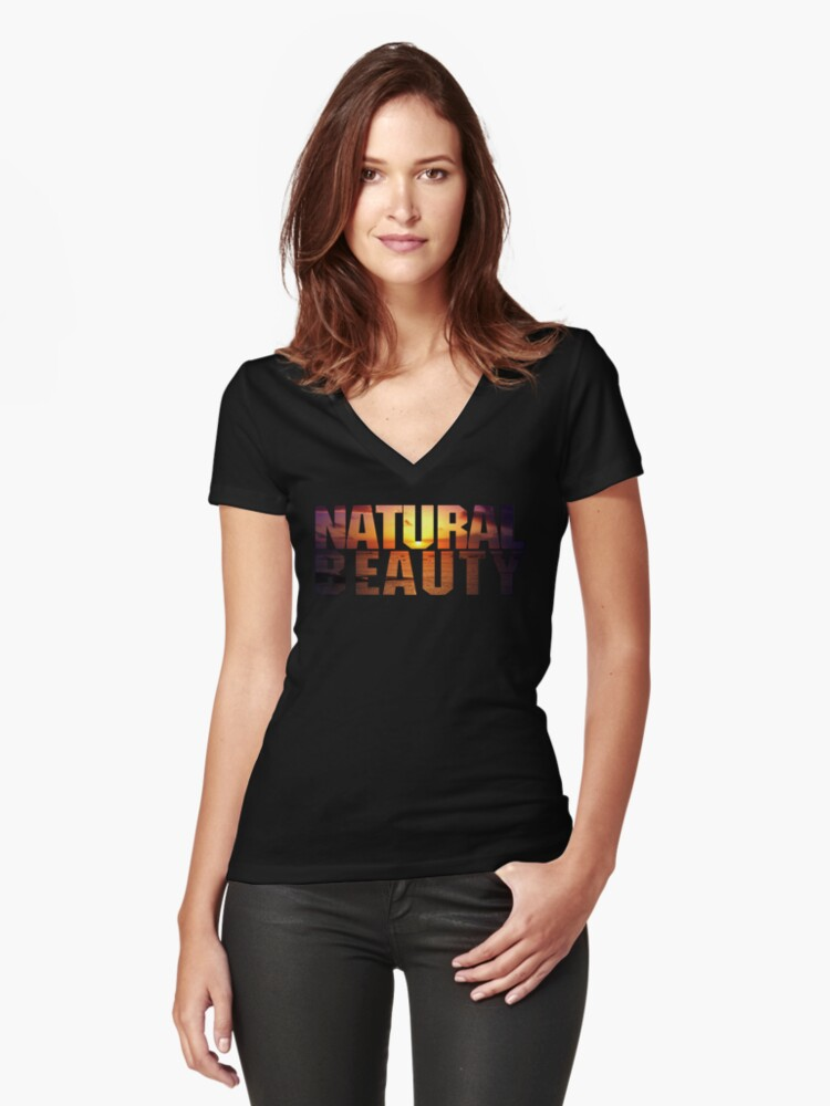Natural Beauty - Sunshine Women's Fitted V-Neck T-Shirt Front