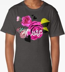 Cute Collage With Butterfly and Pink Roses Long T-Shirt