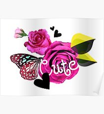 Cute Collage With Butterfly and Pink Roses Poster