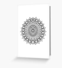 Bohemian Mandala - Black on White Greeting Card