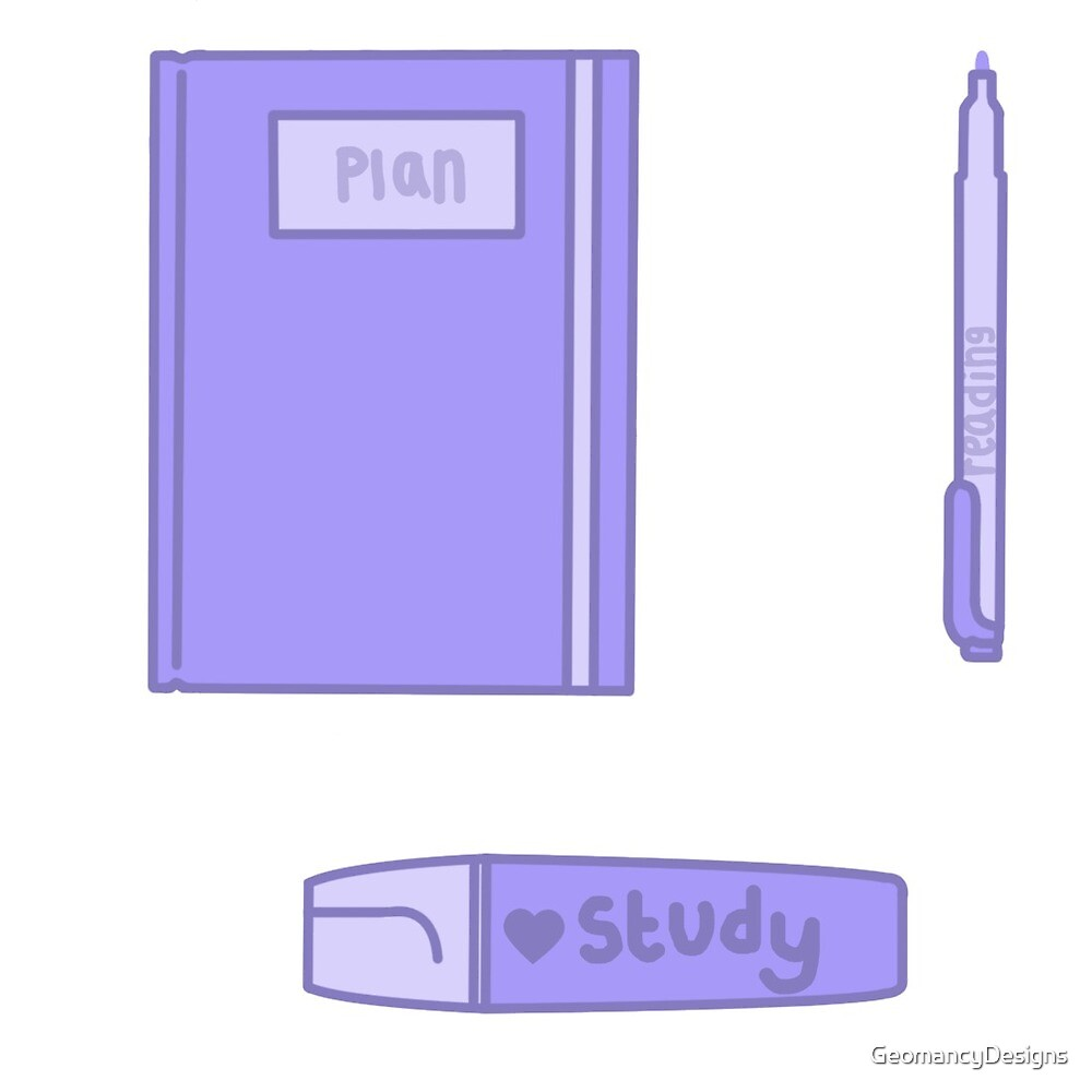 Kawaii stationary purple by GeomancyDesigns