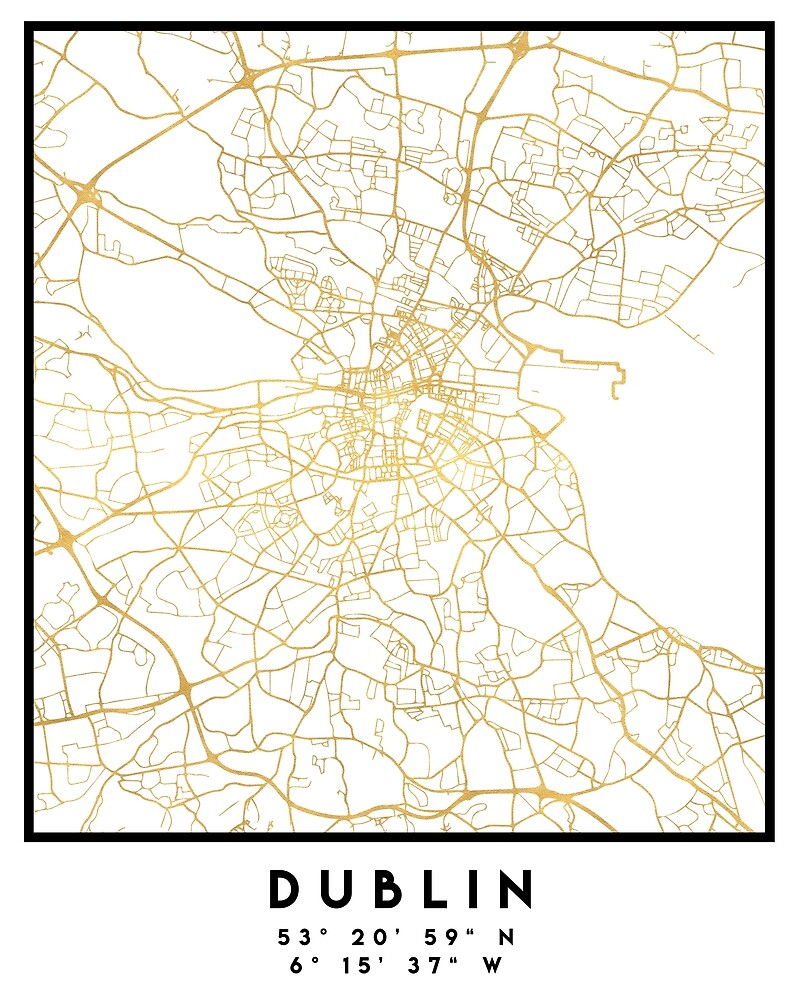 DUBLIN IRELAND CITY STREET MAP ART by deificusArt
