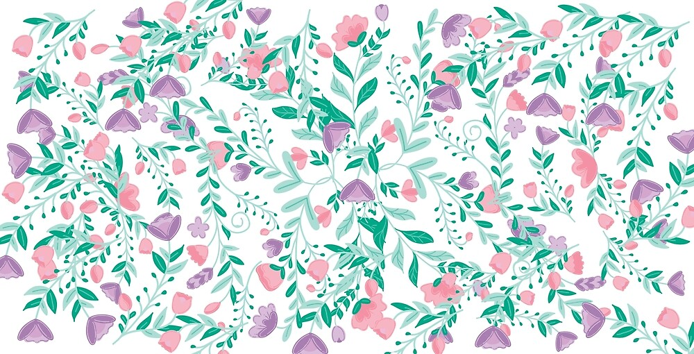 Cute Pink Lavender Pastel Floral Pattern by Vicky Brago-Mitchell