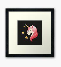 Unicorn with pink mane.  Framed Print