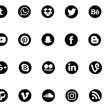 Social logos black by sarabert96