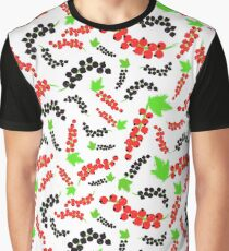 Red Black Currents Background Painted Pattern Graphic T-Shirt
