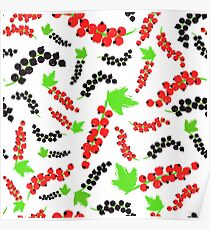 Red Black Currents Background Painted Pattern Poster