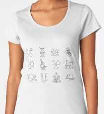 Science Line Icons Women's Premium T-Shirt