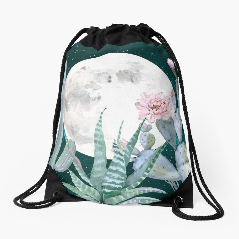 Cactus Nights Pretty Pink and Blue Desert Stars Cacti Illustration Drawstring Bag