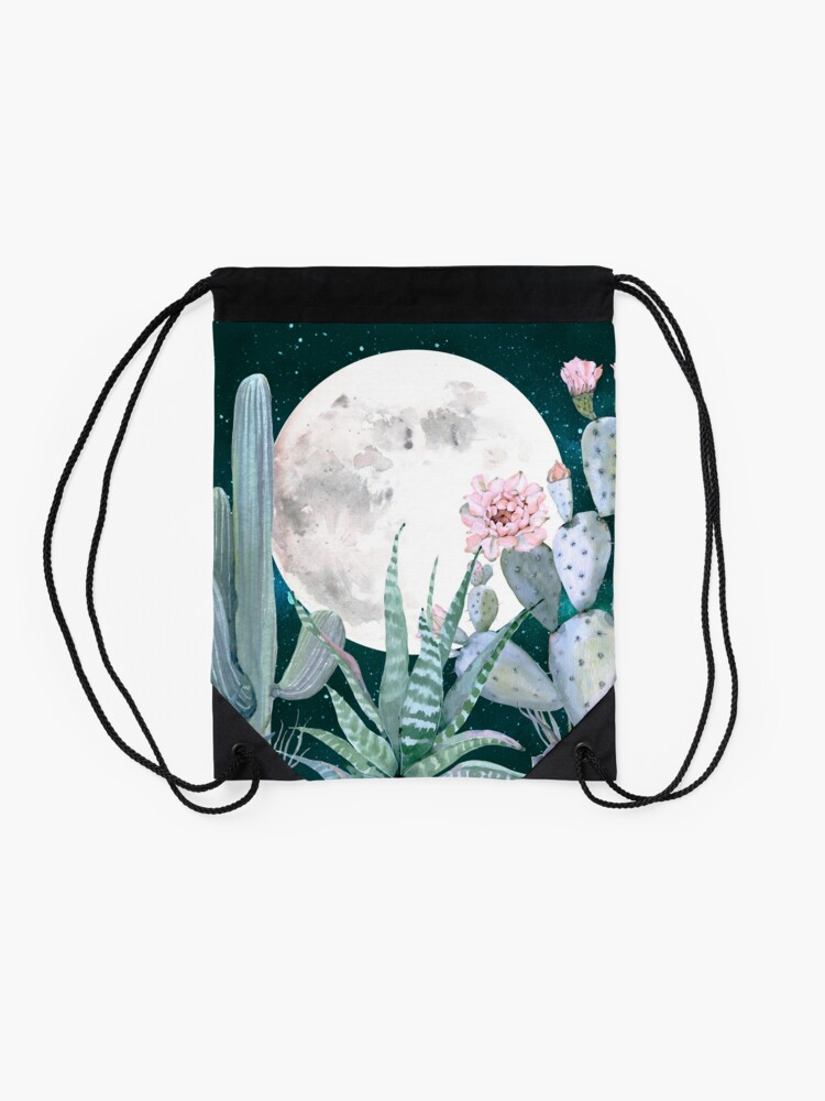 Alternate view of Cactus Nights Pretty Pink and Blue Desert Stars Cacti Illustration Drawstring Bag
